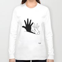her Long Sleeve T-shirts featuring Rabbit Hand Shadow by Mobii