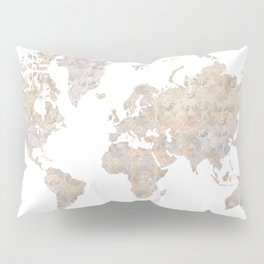 "World map in gray and brown watercolor ""Abey"" Pillow Sham"