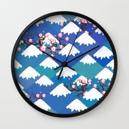 Spring Nature background with Japanese cherry blossoms, sakura pink flowers landscape. blue mountain Wall Clock