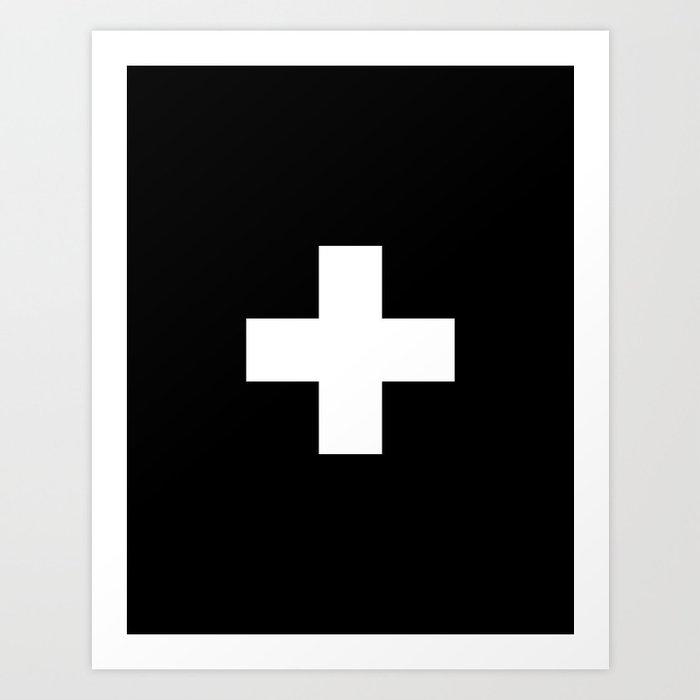 Swiss Cross Black And White