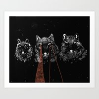 wolves Art Prints featuring wolves by BELZEDU