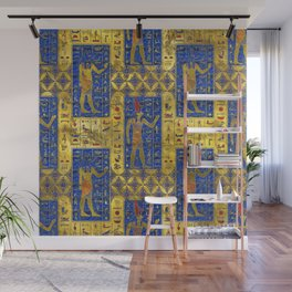 Egyptian  Gold  symbols on Lapis Lazuli Wall Mural