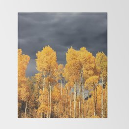 Golden Aspens and an Impending Storm Throw Blanket