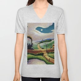 American West Classical Masterpiece 'Trains Colliding' by Thomas Hart Benton Unisex V-Neck