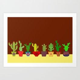 Cactus in brown Art Print