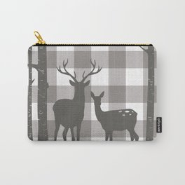 Deer & Birch Grey Plaid Carry-All Pouch