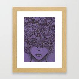 Zentangled woman Framed Art Print
