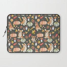 Welsh Corgi Dog Breed Fall Party -Cute Corgis Celebrate Autumn With Pumpkins Mushrooms Leaves - Oliv Green Laptop Sleeve