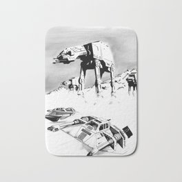 A snowspeedery day on Hoth (Black and White version) Bath Mat