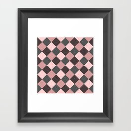Brown pink plaid Framed Art Print