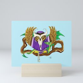 Wizard Owl and Dragon Mini Art Print