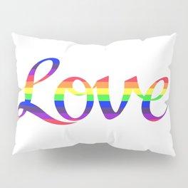 Love Script Rainbow Color Stripes Pillow Sham