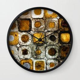 Golden Penny Squares Wall Clock