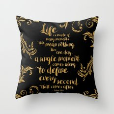An Ember In The Ashes Quote Design in Gold Foil Throw Pillow