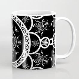 Scarab tile line pattern with black Background Coffee Mug