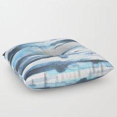 Blue Ice Watercolor 2 Floor Pillow