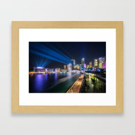 Laser Show above the Sydney Skyline Framed Art Print