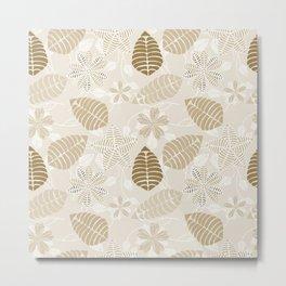 Neutral Color Tropical Leaf Pattern Metal Print