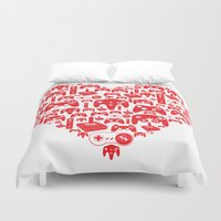 gaming Duvet Covers featuring Gaming Love by Tombst0ne