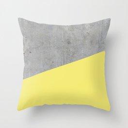 Concrete and yellow Throw Pillow
