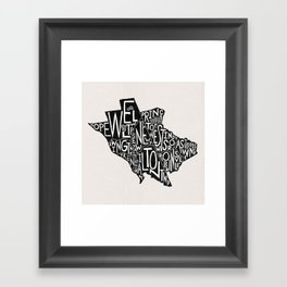 Mercer County, New Jersey Map Framed Art Print