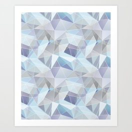 Broken glass in blue. Art Print