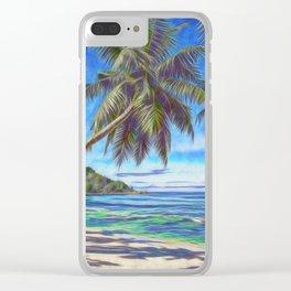 Tropical island beach Clear iPhone Case