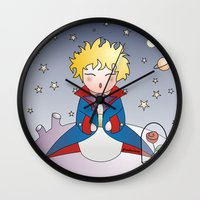 little prince Wall Clocks featuring Kokeshi The little prince by Pendientera