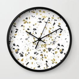 Black and Gold Terrazzo White Marble Wall Clock