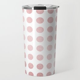 Simply Polka Dots in Rose Gold Sunset and White Travel Mug