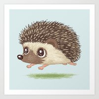 hedgehog Art Prints featuring Hedgehog by Toru Sanogawa