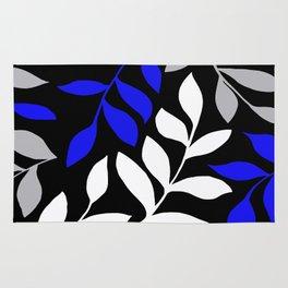 BLUE leaf Black leaf  Gray leaf Pattern Rug