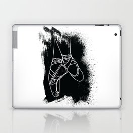 Outline of Ballet Pointe Shoes on Black Background Laptop & iPad Skin
