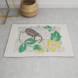 I Shall Fear No Weevil   (Boll Weevil and Cotton Blossoms) Rug