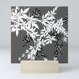 TREE BRANCHES GRAY WHITE WITH BLACK BERRIES Mini Art Print