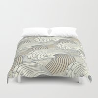 waves Duvet Covers featuring waves by Vickn
