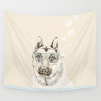 diver Wall Tapestries featuring Diver Dog by Cecilia Sánchez