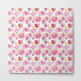 Hand painted blush pink yellow watercolor roses Metal Print