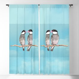 Two kissing Java sparrows Blackout Curtain