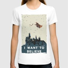 I Want To Believe - Hogwarts X-LARGE White Womens Fitted Tee