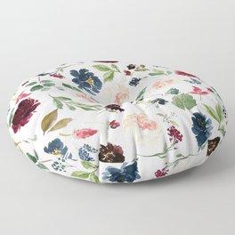 Burgundy Navy Blue Watercolor Flowers Floor Pillow
