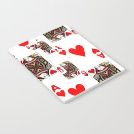 RED QUEEN OF HEARTS  & ACES PLAYING CARDS ARTWORK Notebook