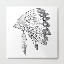 Native american indian headdress illustration Metal Print