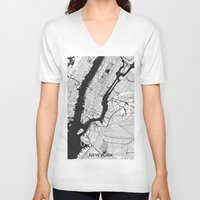 new york map V-neck T-shirts featuring New York Map Gray by City Art Posters