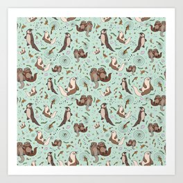 Cute Sea Otters Art Print