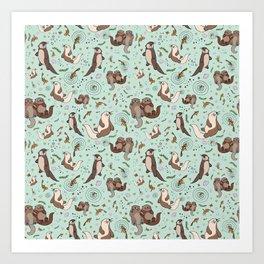 Cute Sea Otters Kunstdrucke