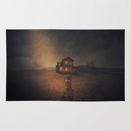 Moonlight Spooky House Rug