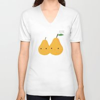 pear V-neck T-shirts featuring We make a nice pear by UiNi
