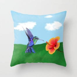 The very hungry hummingbird Throw Pillow