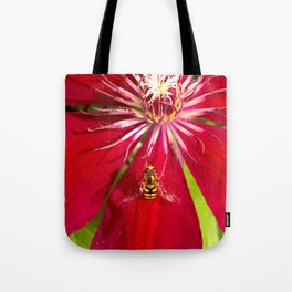 Flowers & bugs RED PASSION FLOWER & HOVERFLY Tote Bag